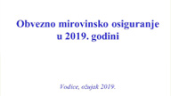 Obvezno mirovinsko osiguranje u 2019. godini
